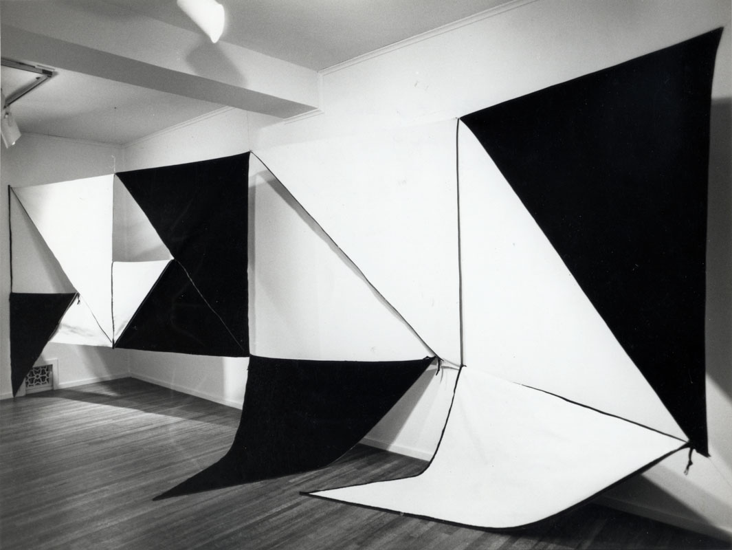 <p>Karen Carson. <i>Four Panel Zipper Piece</i>, 1972. Canvas, cotton duck, zippers. Installation view: Long Beach Museum of Art, California, 1973. Image courtesy and credit of the artist.</p>
