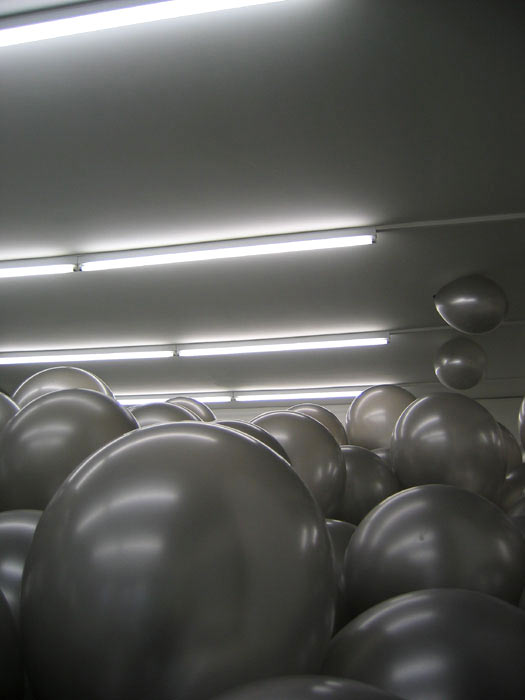 <p>Martin Creed. <i>Work No. 360: Half the air in a given space</i>, 2004. Silver balloons. Collection of Bill and Ruth True. Installation view: Johnen Galerie, Berlin, Germany, 2004. Image courtesy of Gavin Brown Enterprises. </p>