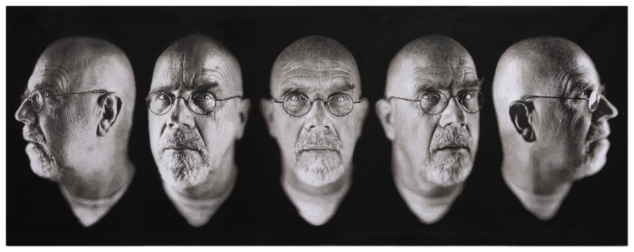 <p>Chuck Close. <i>Self-Portrait/Five Part</i>. 2009. Jacquard tapestry. Private Collection. Image courtesy of Magnolia Editions.</p>