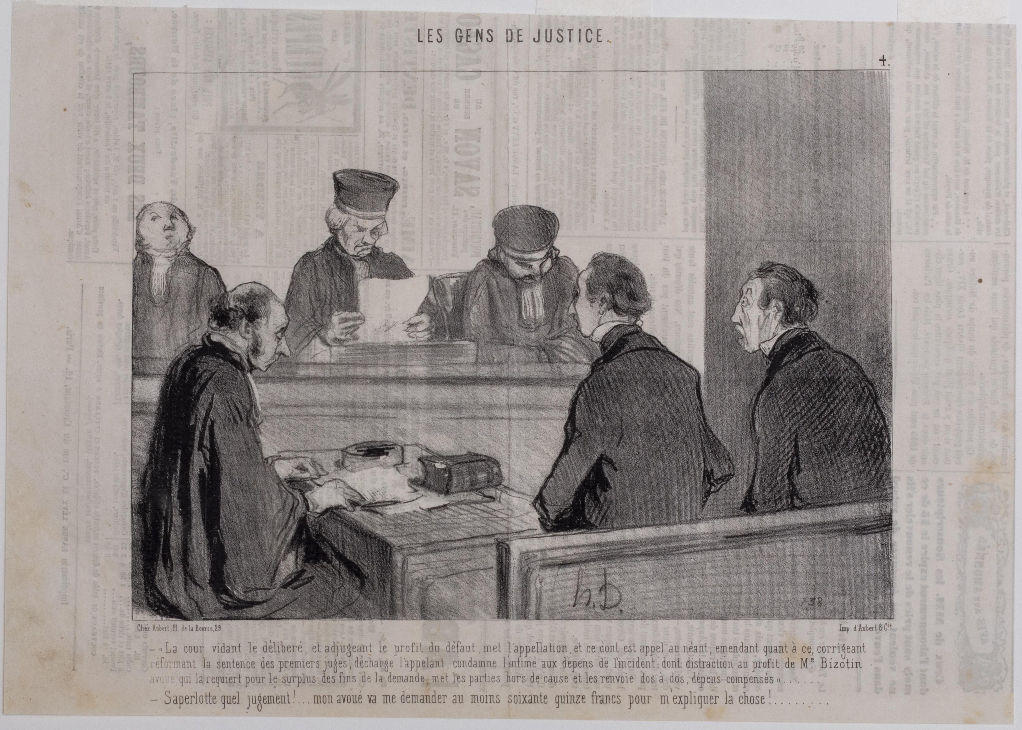 Honoré Daumier, Le cour vidant le délibéré, 1845.