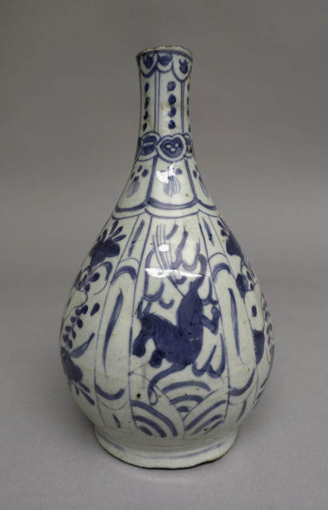 <p>China, Vase, c. 1600. Wheel-thrown porcelain with cobalt oxide and clear glaze. Henry Art Gallery, Frances and Thomas Blakemore Collection, 96.42.</p>