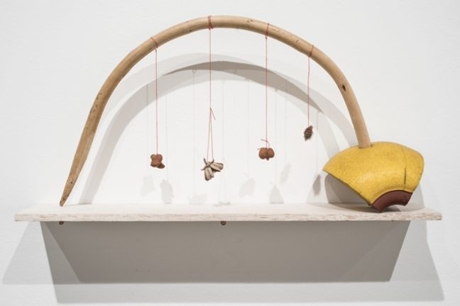 <p>Cecilia Vicuña (Chile, born 1947). <i>Arco arrayán</i> (from the <i>Precarios </i>series), 1966-2017. Found-object sculpture. Installation view, <i>Cecilia Vicuña: About to Happen</i>, 2017. Contemporary Arts Center, New Orleans. Photo: Alex Marks.<br /></p>