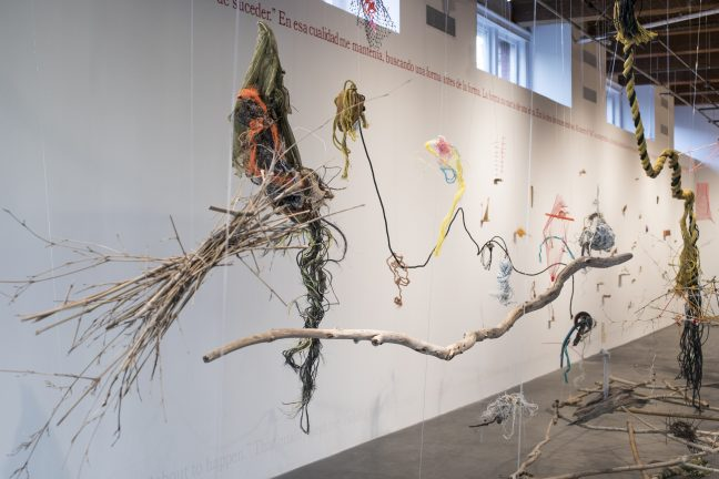 <p>Cecilia Vicuña (Chile, born 1947). <em>Balsa Snake Raft to Escape the Flood</em>, 2017. Site-specific installation with found materials sourced from New Orleans, Chile, and New York: debris, bamboo, willows, twigs, fishing line, beads, rope, net, styrofoam, plastic, and feathers. [Installation view, <em>Cecilia Vicuña: About to Happen</em>, 2017. Contemporary Arts Center, New Orleans.] Photo: Alex Marks.</p>