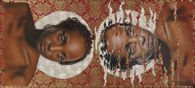 "<p>In the <em>Saints </em>series, Marin Burnett reflects on her experience as a Black woman in America. Burnett challenges the distorted and fragmented images of Black women through a societal lens, drawing a parallel to how light refracts around an object as it moves through water. <em>Refracted Saint No. 1 </em>envisions the differences between how Black women view themselves and the ways others see them. The work depicts a Black female body as a ""whole saint"" adorned with only a halo. Set against a vibrant gilded background, she occupies space with her refracted reflection in water. ""As we pass through an intolerant society, our image is distorted, our light and our sainthood refracted – but we are somehow still whole,"" Burnett has explained. ""Real saints are not gilded, they are pained, flawed, and beautiful people.""&nbsp;&nbsp;</p>  <p><p>Image: Marin Burnett, <em>Refracted Saint No. 1, 2019</em></p></p>"