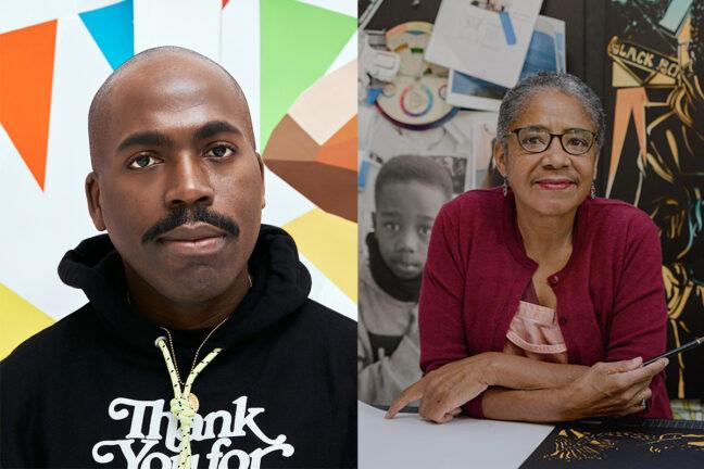 <p>Left: Derrick Adams. Image courtesy of the Artist. Right:&nbsp;Barbara Earl Thomas. Photo: Jovelle Tamayo.&nbsp;Image courtesy of the Artist.</p>