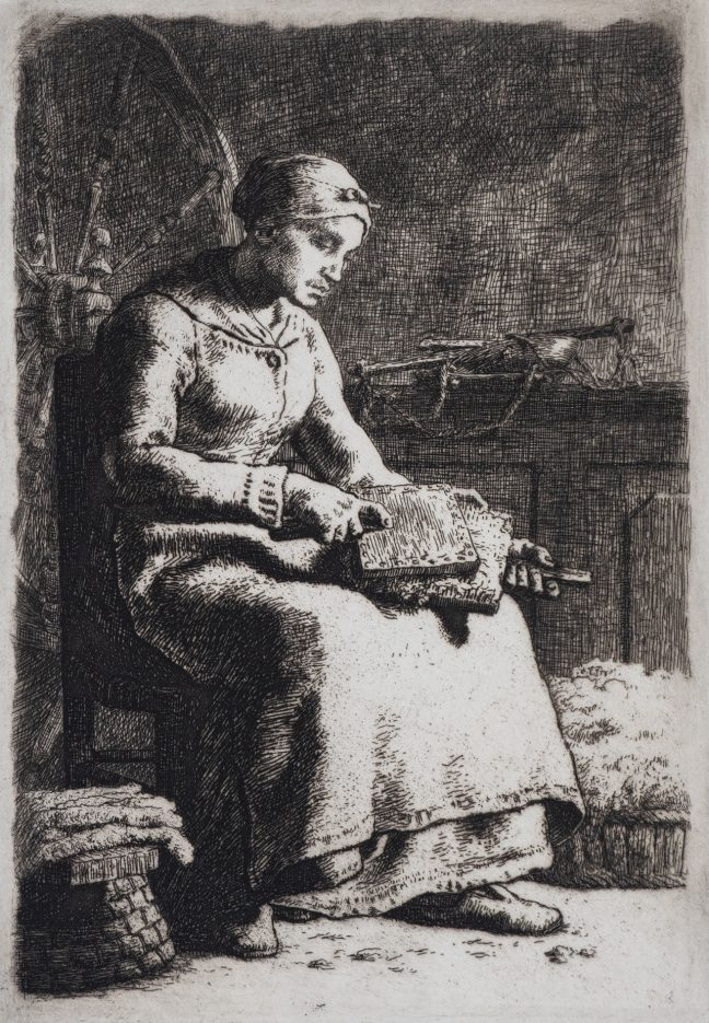 <p>Jean-François Millet, <em>La Cardeuse (The Woolcarder), </em>1855-1856, Etching on laid paper, Henry Art Gallery Stimson Collection, gift of Dorothy Stimson Bullitt, 77.129</p>