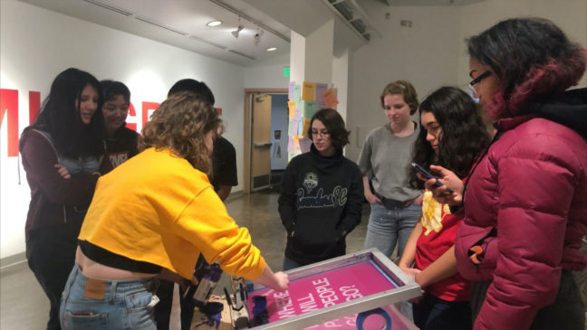 <p>Members of the 2019-20 Henry Teen Art Collective visiting&nbsp;<em>Sanctuary Print Shop</em> at Vachon Gallery, Seattle University.</p>