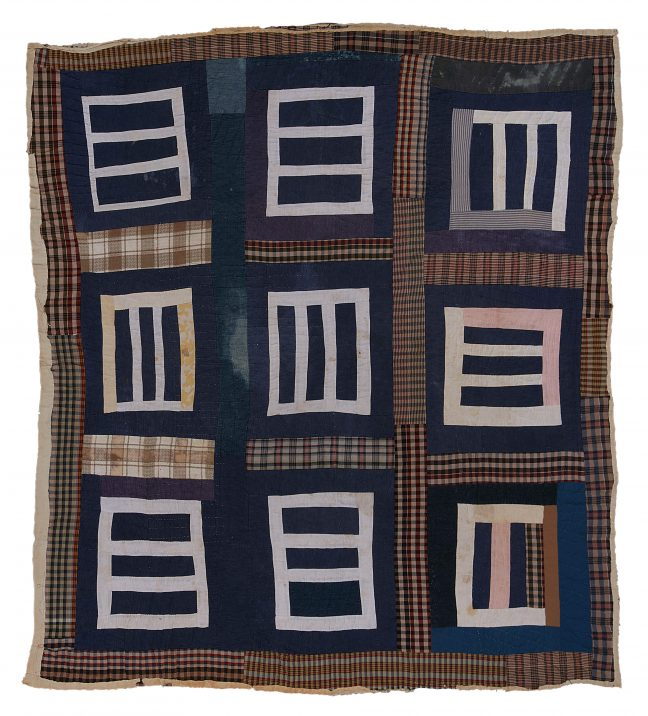 "<p>Mary L. Bennett. <em>""Housetop""—nine-block variation</em>. c. 1975. Cotton, denim, cotton/polyester blend, cotton knit. Henry Art Gallery, purchased with funds from William L. True and gift of the Souls Grown Deep Foundation, 2020.1.<br /></p>"