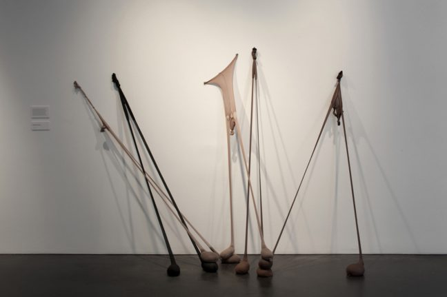 <p>Senga Nengudi. <em>Untitled </em>(<em>R.S.V.P.)</em> 2013. [Installation view of <em>Senga Nengudi: The Material Body</em> at&nbsp&#x3B;The Museum of Contemporary Art Denver,&nbsp&#x3B;2014.]. All works &copy&#x3B; Senga Nengudi. Photograph courtesy MCA Denver &copy&#x3B; Ron Pollard.<br></p>
