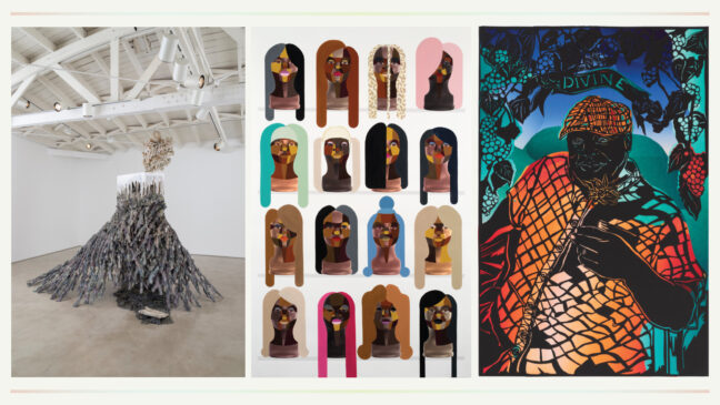 <p>Left to right:&nbsp;Diana Al-Hadid.&nbsp;Smoke and Mirrors.&nbsp;2015. Polymer gypsum, fiberglass, steel, wood, concrete, polystyrene, black mesh, pigment. Courtesy of the artist. Photo: Joshua White. Derrick Adams, Style Variation Grid 10, 2019. Acrylic paint on digital photograph inkjet on watercolor paper. Courtesy of Salon 94 LLC, New York. Barbara Earl Thomas, Divine, 2021. Paper cut with hand printed color. Courtesy of the artist and Claire Oliver Gallery, New York. Photo:&nbsp;Zocolo Studios ~ Spike Mafford.</p>