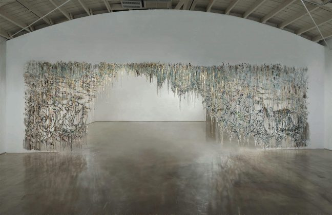 <p>Diana Al-Hadid. <em>Smoke Screen. </em>2015. Polymer gypsum, fiberglass, steel, gold leaf, plaster, pigment. Courtesy of the artist. Photo: Joshua White.</p>