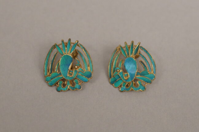 <p>China, Earrings, 1900-1939. Fabricated metal. Henry Art Gallery, gift of Helen Graham Park, 74.5-41, m1-m2.<br></p>