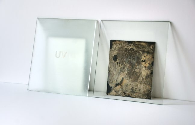 <p>Carrie Yamaoka. <em>UV/VU</em>. 1992. Etched glass and mirrors. Courtesy of the artist.</p>