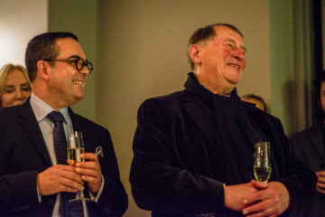 <p>Henry Deputy Director of Exhibitions, Collections, and Programs Luis Croquer and artist Franz Erhard Walther at the opening of <em>The Body Draws</em>.</p>