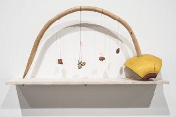 <p>Cecilia Vicuña (Chile, born 1948). <em>Arco arrayán</em> (from the <em>Precarios </em>series). 1966-ongoing. Found-object sculpture. [Installation view, <em>Cecilia Vicuña: About to Happen</em>, 2017. Contemporary Arts Center, New Orleans.] Photo: Alex Marks.<br /></p>