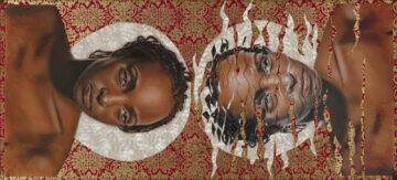 """<p>In the <em>Saints </em>series, Marin Burnett reflects on her experience as a Black woman in America. Burnett challenges the distorted and fragmented images of Black women through a societal lens, drawing a parallel to how light refracts around an object as it moves through water. <em>Refracted Saint No. 1 </em>envisions the differences between how Black women view themselves and the ways others see them. The work depicts a Black female body as a """"whole saint"""" adorned with only a halo. Set against a vibrant gilded background, she occupies space with her refracted reflection in water. """"As we pass through an intolerant society, our image is distorted, our light and our sainthood refracted – but we are somehow still whole,"""" Burnett has explained. """"Real saints are not gilded, they are pained, flawed, and beautiful people.""""&nbsp;&nbsp;</p>  <p><p>Image: Marin Burnett, <em>Refracted Saint No. 1, 2019</em></p></p>"""