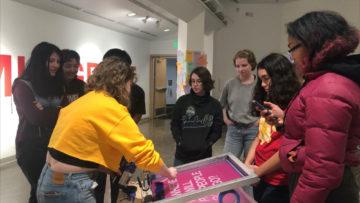 <p>Members of the 2019-20 Henry Teen Art Collective visiting&nbsp;<em>Sanctuary Print Shop</em> at Vachon Gallery, Seattle University.</p>
