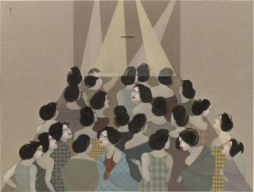 <p>Hayv Kahraman. <em>The Audience</em>. 2018. Oil on linen. Collection Nerman Museum of Contemporary Art, Johnson County Community College, Overland Park, Kansas, Gift of the Jedel Family Foundation. Courtesy of the artist and Susanne Vielmetter, Los Angeles. Photo: Robert Wedemeyer.</p>