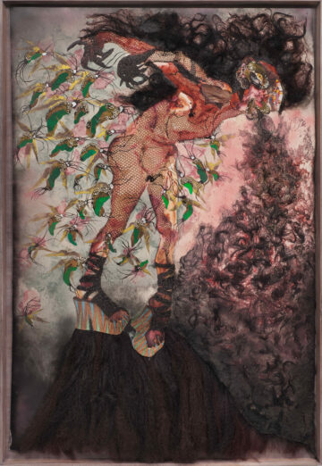 <p>Wangechi Mutu,&nbsp;<i>All the way up, all the way out</i>, 2012.&nbsp;Collage on linoleum. Collection of John and Shari Behnke. Photo: Robert Wedemeyer, courtesy of the artist and Vielmetter Los Angeles.   </p>