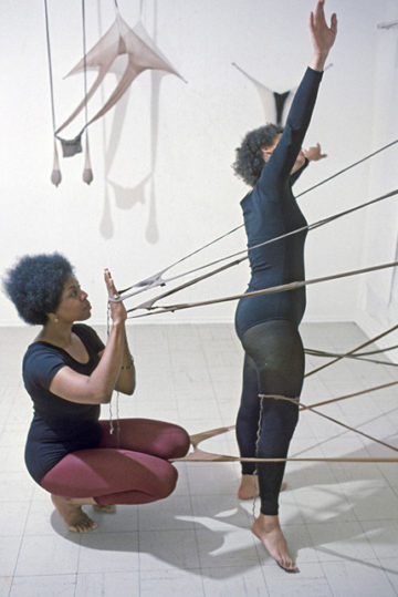 <p>Senga Nengudi's nylon <em>R.S.V.P.&nbsp;</em><i>&nbsp;s</i>culptures activated by Nengudi and Maren Hassinger in <em>Performance Piece</em> at&nbsp;&nbsp;the Pearl C. Wood Gallery, Los Angeles, 1977. Image courtesy of the artist and Museum of Contemporary Art, Denver. Photo: Harmon Outlaw, Pearl C. Wood Gallery, Los Angeles.&nbsp;<br></p>