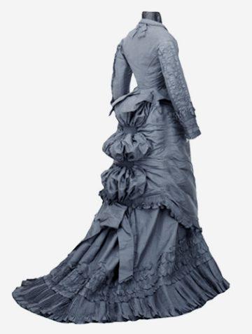 <p>Day dress. Chicago, Illinois. 1870-1875. Silk taffeta. Henry Art Gallery, School of Drama Collection, gift of Mrs. George S. Bassett, 82.1-20, t1, t2.</p>