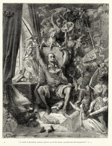 <p>Plate I of Gustave Doré's illustrations to Miguel de Cervantes' <i>Don Quixote</i>. From Chapter I.</p>
