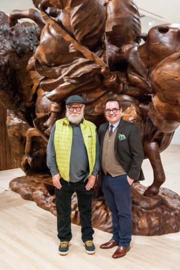 """<p>Artist Paul McCarthy and Deputy Director of Exhibitions, Collections, and Program Luis Croquer at the opening of """"Paul McCarthy: White Snow, Wood Sculptures."""" Photo credit: Robert Wade.</p>"""