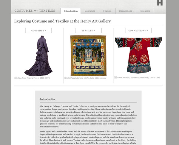 Digital Interactive Gallery: Costumes and textiles
