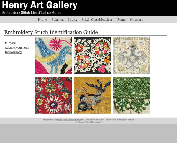 Digital Interactive Gallery: Embroidery stitch identification guide