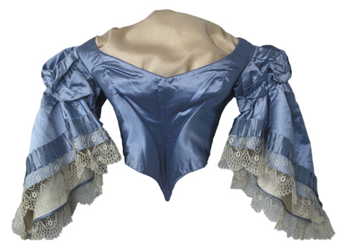 Woman's satin evening bodice with lace